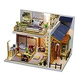 Dollhouse DIY Miniature Room Set con Tapa - Juego De Construcción De Artesanía De Madera Modelo De Construcción De Juguete - Mini Doll House - Regalo