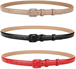 VOCHIC Trendy Women Leather Skinny Belts for Jeans Pants Thin Dress Waist Belt