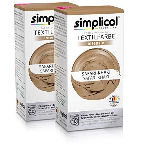 Simplicol Textilfarbe intensiv (18 Farben), Safari-Khaki 1815 2er Pack: Einfaches Färben in der Waschmaschine, All-in-1 Komplettpackung