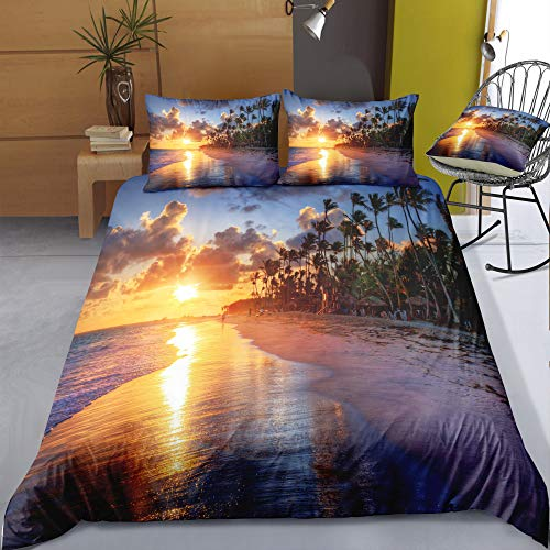 BH-JJSMGS 3D Beach Coconut Bedding, Bettbezug und Kissenbezug mit lichtbeständigem Druck, Dämmerung 200x200cm