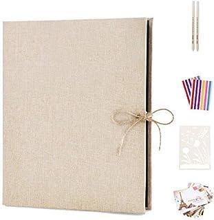 AIOR Album Photos Traditionnel Scrapbooking, Lin Vintage Scrapbook 60 Pages Noires Mariage Livre d'or, Cadeau Maitre d'éco...