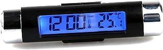 Lovelifeast Kfz Digitaluhr, mit Thermometer, LCD Display mit Hintergrundbeleuchtung, klein und kompakt, fassförmig, mit Befestigungsclip