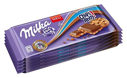 Milka Chips Ahoy limitierte Edition, Tafelschokolade mit Keksstückchen, 100g, 10er Pack (10 x 100 g)