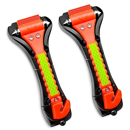 GOOACC Car Hammer Seatbelt Cutter Auto Car Hammer Breaker Window Breaker Emergency Escape Tool Life Saving Survival Kit, 2 PCS