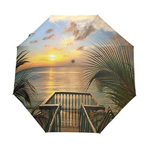 SUHETI Regenschirm Taschenschirm,Mediterraner Horizont Seestück Balkon Zäune Urlaub Leben Foto,Auf Zu Automatik,windsicher,stabil