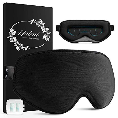 Schlafmaske für Frauen & Herren, Unimi Schlafmaske Set für Seitenschläfer, 100% Lichtblockierende, Hautfreundlich & Atmungsaktive, Verstellbare Augenmaske mit Ohrstöpseln für Reisen, Schichtarbeit