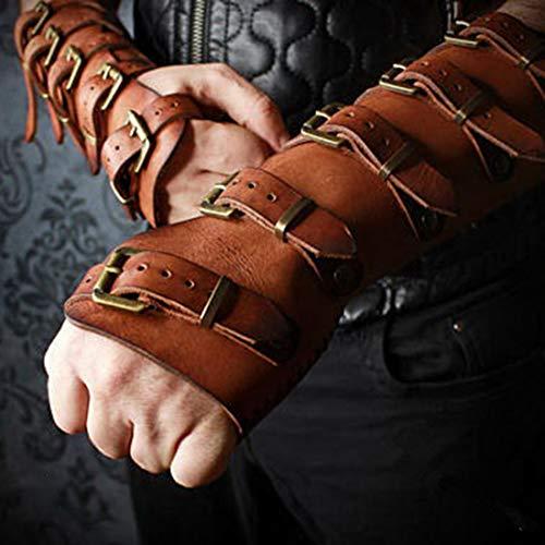 Brazalete De Cuero Medieval Brazalete con Hebilla Correa Armadura Ajustable Banda De Muñeca para Adultos Archer Guantelete Disfraz Engranaje Funda De Cuero,Marrón