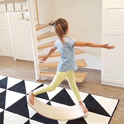 lxfy Kinder Wobble Balance Board - Yoga Board aus Holz kurvig mit Filzschicht - Kid Bauen Sie EIN Gefühl der Balance Core Krafttraining - Holz Wippe