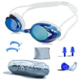 PHELRENA Swimming Goggles, Professional Swim Goggles Anti Fog UV Protection No Leaking for Adult Men Women Kids Swim Goggles with Nose Clip, Ear Plugs, Protection Case and Interchangeable Nose Bridg