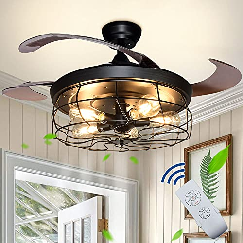"""DLLT Ceiling Fan with Lights-42"""" Industrial Ceiling Fan with Retractable Blades, Vintage Cage Ceiling Light Fixture with Remote for Kitchen, Dining Room, Living Room, 5 E26 Bulbs Not Included, Black"""