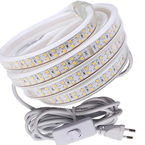 Striscia LED, striscia LED, fascia LED, luminosa fascia LED con interruttore 220 V AC 5730 180 LED/m IP68, striscia luminosa LED (25 m) (bianco freddo)