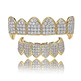 LKV 14K Plated Gold Grillz for Men and Women Gold Grills Teeth All Iced Out CZ Top and Bottom Vampire Mouth Grill with Extra Molding Bars(Gold, Top and Bottom)