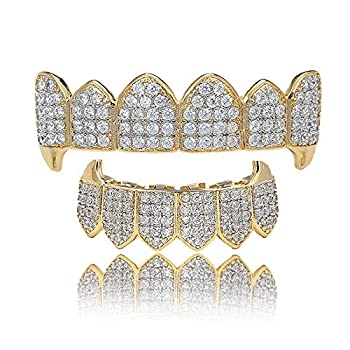 LKV 14K Plated Gold Grillz for Men and Women Gold Grills Teeth All Iced Out CZ Top and Bottom Vampire Mouth Grill with Extra Molding Bars Gold Top and Bottom