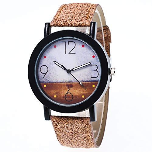 Lubier Relojes de pulsera de piel sintética con esfera simple retro de cuarzo para mujeres y niñas
