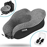 Fosmon Travel Neck Pillow, Soft and Comfortable Memory Foam Neck Cushion, Head & Chin Support Travel Pillow, Machine Washable 100% Cotton Cover for Traveling Flying Airplane Car Bus Dark Gray/Black