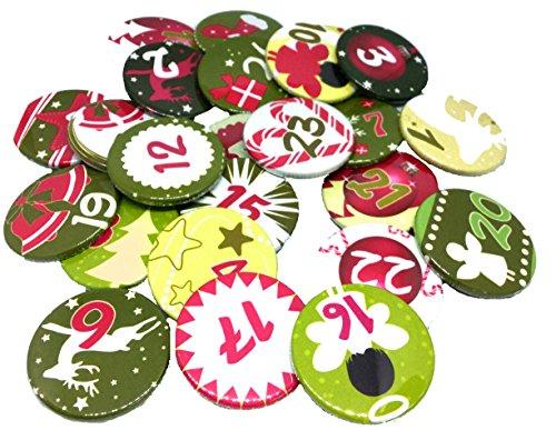 Adventskalender Button Set God Jul rot Zahlen 1-24 Deko Anstecker 3,8 cm Weihnachten Christmas Wichtelgeschenk