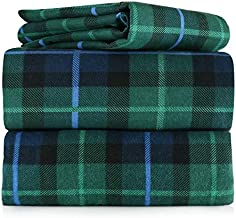 AM Home Fashion Piece 100% Soft Flannel Cotton Bed Sheet Set – Queen/King Size – Patterned Bedding Covers – 1 Flat Sheet, 1 Fitted Sheet, 2 Pillow Cases - Fade Resistant Designs, (Multi Plaid, King)