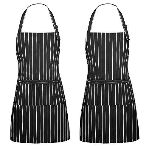 ss shovan Schürze, 2 Pack Küchenschürze Verstellbare Wasserdicht beständig mit 2 Taschen Kochen Küche Garten BBQ Schürzen, Schwarz-Weiss, für Frauen Männer Chef