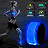 BSEEN LED Armband, 2ed Generation LED Slap Bracelets, Patented Heat Sealed Glow in The Dark Water/Sweat Resistant Glowing Sports Wristbands for Running, Cycling, Hiking, Jogging (Orange-Design II)
