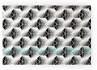 "Society6 Susana Paz Natural Geometry Welcome Mat, 30"" x 20"", Black"