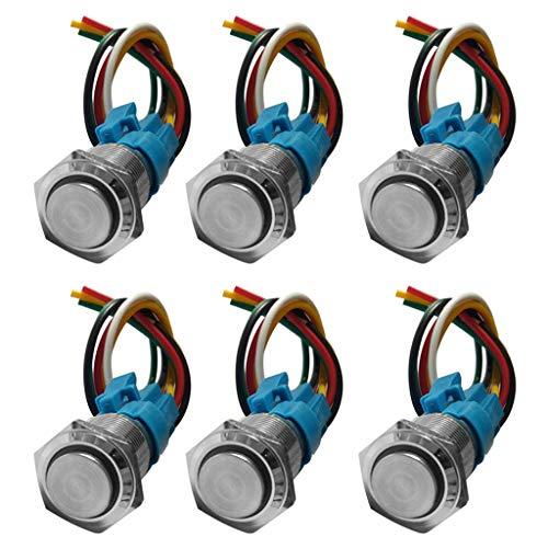 F Fityle Interruptor de Encendido con Botón Pulsador de Enclavamiento LED de Acero Inoxidable de 16 Mm Interruptor LED 2xRed & 2xBlue & 2xGreen / 6PCS