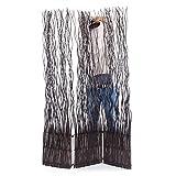 DESIGN DELIGHTS Weiden RAUMTEILER Wave 3 | 183x120 cm (HxB), Weidenholz | 3-teilige Trennwand, Paravent, Zweig Raumtrenner | Farbe: braun