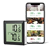 Yuntech Thermometer Hygrometer, Accurate Indoor Outdoor Wireless Temperature Humidity Sensor, LCD Bluetooth Temp Humidity Monitor with Data Storage for House Garage Greenhouse Wine Cellar