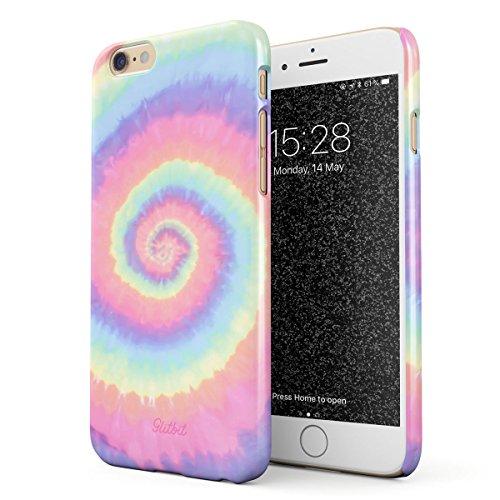 Glitbit Cover per iPhone 6 Plus / 6s Plus Case Tie Dye Hippie Hipster Colorful Pastel Rainbow Colors Trippy Swirl Pale 90s 80s Peace Colorate Sottile Guscio Resistente in Plastica Custodia Protettiva