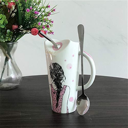 Keramische mok kop koffie mok lepel met stro-patroon schoonheid te verzenden vriendin mode eenvoudig geschenk doos Europese retro creatieve fijne servies