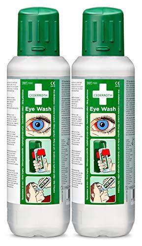 Cederroth ® | Augendusche 2 x 500 ml | Die Augenspüllösung hat eine neutralisierende Wirkung bei Alkalien- und Säurespritzern und trägt dazu bei, den ph-Wert des Auges wiederherzustellen | 2Flaschen