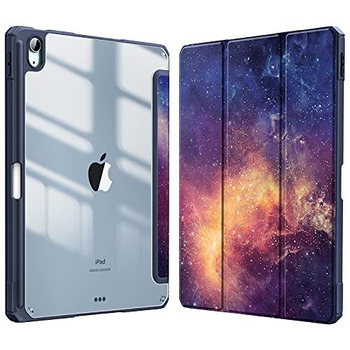 Fintie Funda Compatible con iPad Air 10,9' (4.ª Generación, 2020) - Carcasa con Soporte Integrado para Pencil Trasera Transparente a Prueba de Choques Auto-Reposo/Activación, Galaxia