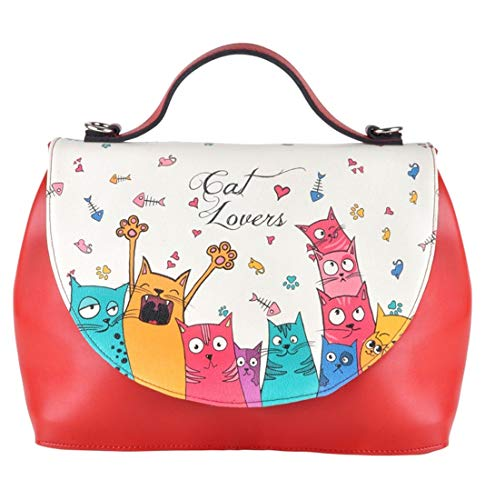 DOGO Damen Handtasche - Umhängetasche - vegan - Handy - Cat Lovers