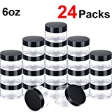 24 Pieces Clear Plastic Round Storage Jars Wide-Mouth Plastic Containers Jars with Lids for Storage Liquid and Solid Products (Black Lid, 6 oz)