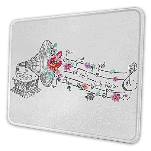 Musik Künstlerische Mauspad Vintage Vintage Grammophon Plattenspieler mit Blumenornament Blüte Antike Mauspad für Frauen Schreibtisch Grau Schwarz Weiß