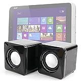 DURAGADGET Altavoces Compactos para Tablet Acer Iconia A3 / One 10 / W3 - Tapscape/ASUS Memo Pad FHD 10 / HD7 / ZenPad 10 (Z300CG) - Tamaño Mini - Conexión Mini Jack + USB