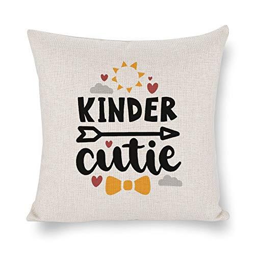 None Brand Kinder Cutie Funda de cojín para bebés, funda de almohada para niños, lino rústico decorativo, almohada lumbar decorativa para silla, habitación, sofá, coche, decoración del hogar, regalo de inauguración de la casa, 45,7 x 45,7 cm
