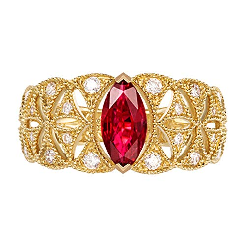 KnSam 18K Gold 750 Gelb Gold Ring Trauring Weissgold 750 Goldring Weißgold Hohlmuster Damen Ring Mit 0.71Ct Rubin Gold