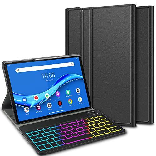 ELTD Funda con Teclado Español Ñ para Lenovo Tab M10 FHD Plus (2nd Gen) 10.3 Inch, Teclado inalámbrico 7 Colores Cubierta de Teclado retroiluminada de Tres particiones, (Negro)