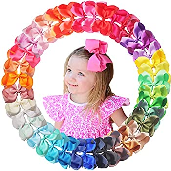 40 Colors 6Inch Hair Bows Clips Large Big Grosgrain Ribbon Hair Bows Alligator Clips Hair Accessories for Girls Toddler Kids Children Teens