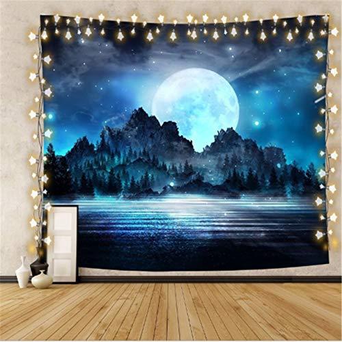 Hogar bosque luna tapiz decoración de la pared de la casa tela colgante colgante
