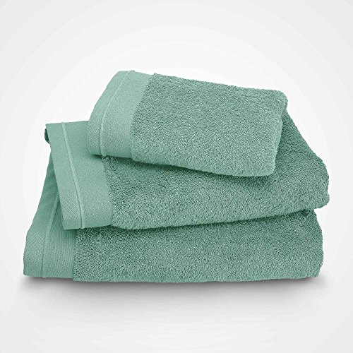 BLANC CERISE Serviette de Toilette - Coton peigné 600 g/m² - Vert d'eau 115x180 cm