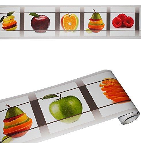 alles-meine.de GmbH Wandbordüre - selbstklebend -  Früchte / Obst  - 2,5 m - Wandsticker / Wandtattoo - Bordüre Aufkleber - für Küche / Wohnzimmer - Kinder & Erwachsene - Fruch..