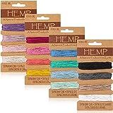 Cordón de Hilo de 16 Colores Cordón de Lino Multicolor, Cuerda de Hilo Natural para Accesorios de Hacer Llavero Pulsera Manualidades Hecho a mano, 1 mm, 80 Yardas en Total (Colorido)