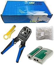 UbiGear Network/Phone Cable Tester + RJ11/RJ12/RJ22/RJ45 Crimp Crimper +100 RJ45 CAT5 CAT5e Connector Plug Network Tool Kits (Crimper315)
