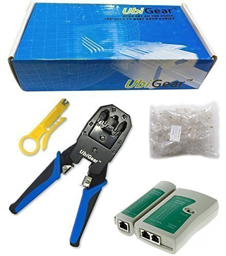 UbiGear Cable Tester +Crimp Crimper +100 RJ45 CAT5 CAT5e Connector Plug Network Tool Kits (Crimper315)
