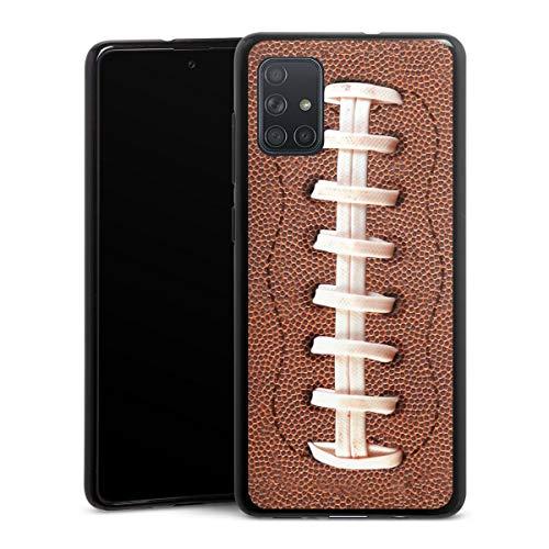 DeinDesign Silikon Hülle kompatibel mit Samsung Galaxy A71 Case schwarz Handyhülle Fußballer Ball American Football