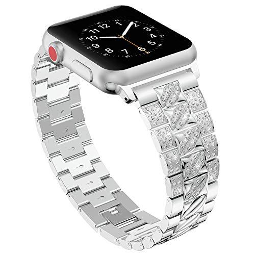 Bands für Apple Watch 38mm 40mm,Silber Damen Edelstahl Sport Uhr Armband für iWatch Series 4 40mm,Metall Bling Armbänder für Series 3 2 1 38mm Edition Nike+