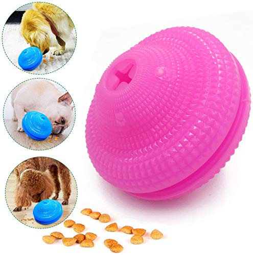 Emoly Dog Teethbrush Chew Toy, Upgraded IQ Interactive Food Dispensing Puzzle Toys for Dogs Chasing Chewing Playing Small Medium Dogs Pets (Pink)