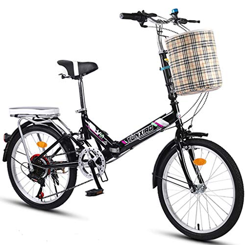 Heizlüfter Folding Bicycle 20 Inch Men And Women Lightweight Folding Bike Bicycle Adult Mini Speed Car Double Disc Brake Folding Bike, Black