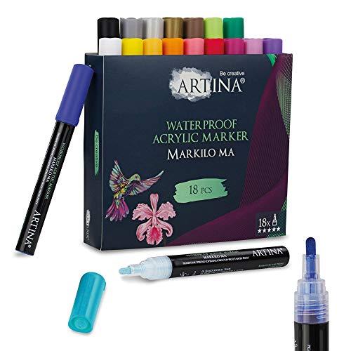 Artina Markilo MA Acryl Stifte 18er Set - Acrylic Farbe Marker Acrylfarben Stifte für Steine, Papier, Leinwand, Glas, Keramik, Kunststoff, Stoff, Holz, Metall UVM